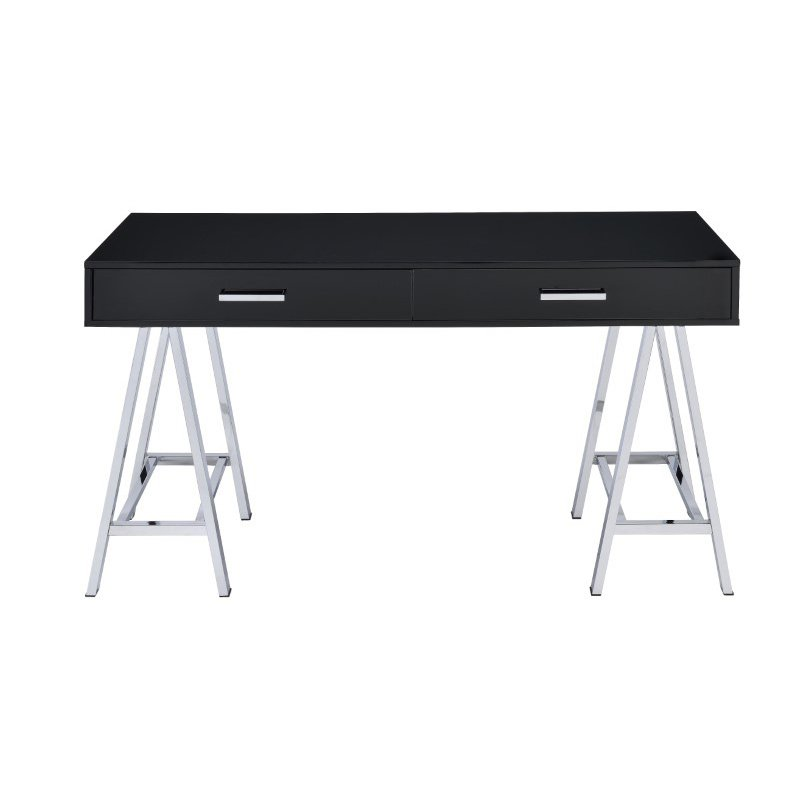 HomeRoots Furniture Desk in Black & Chrome - Glossy Polyester, Particle (286391)