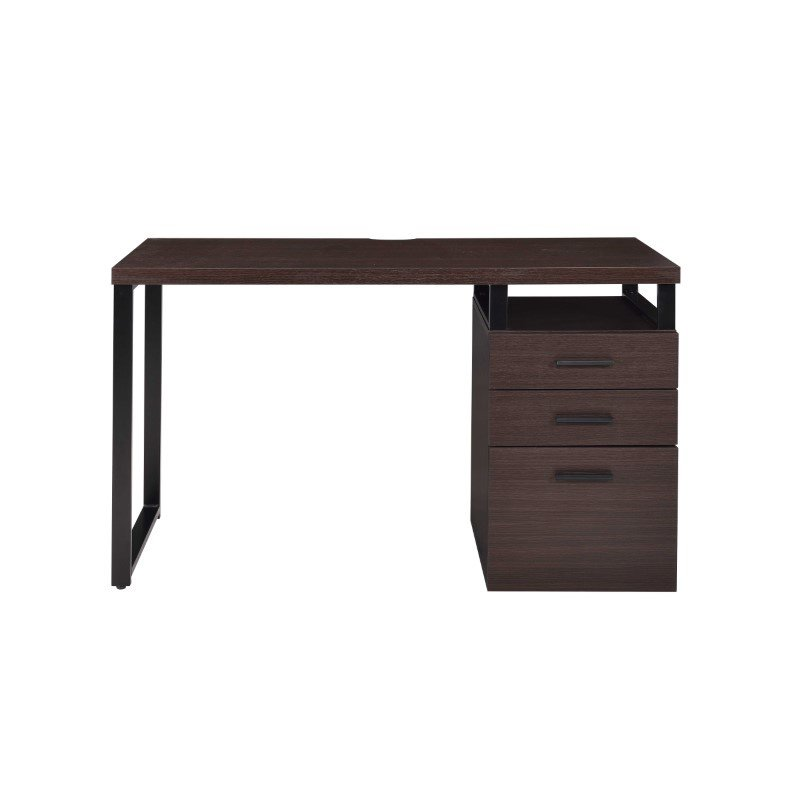 HomeRoots Furniture Desk in Dark Oak - PVC, Particle Board, Metal (286417)