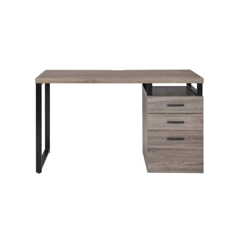 HomeRoots Furniture Desk in Gray Oak - PVC, Particle Board, Metal (286418)
