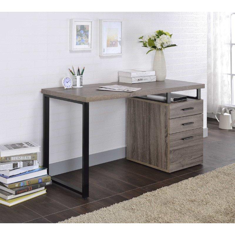 HomeRoots Furniture Desk in Weathered Oak - Paper Veneer, Board, Metal (286419)
