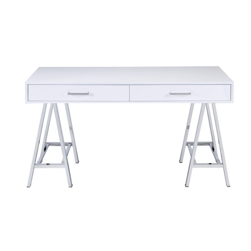 HomeRoots Furniture Desk in White & Chrome - Glossy Polyester, Particle (286393)