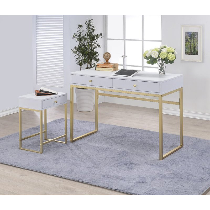HomeRoots Furniture Desk, White & Brass - Particle Board, PVC Hard White & Brass (286082)