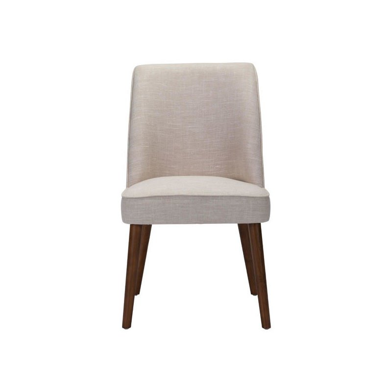 HomeRoots Furniture Dining Chair in Beige Linen Blend Toon Wood (296204)