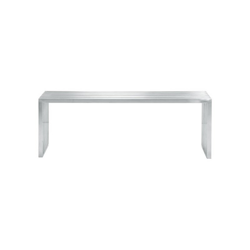 HomeRoots Furniture Double Bench - Brushed Stainless Steel (248655)