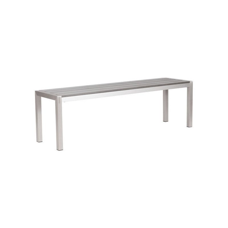 HomeRoots Furniture Double Bench - Faux Wood Brushed Aluminum (249167)