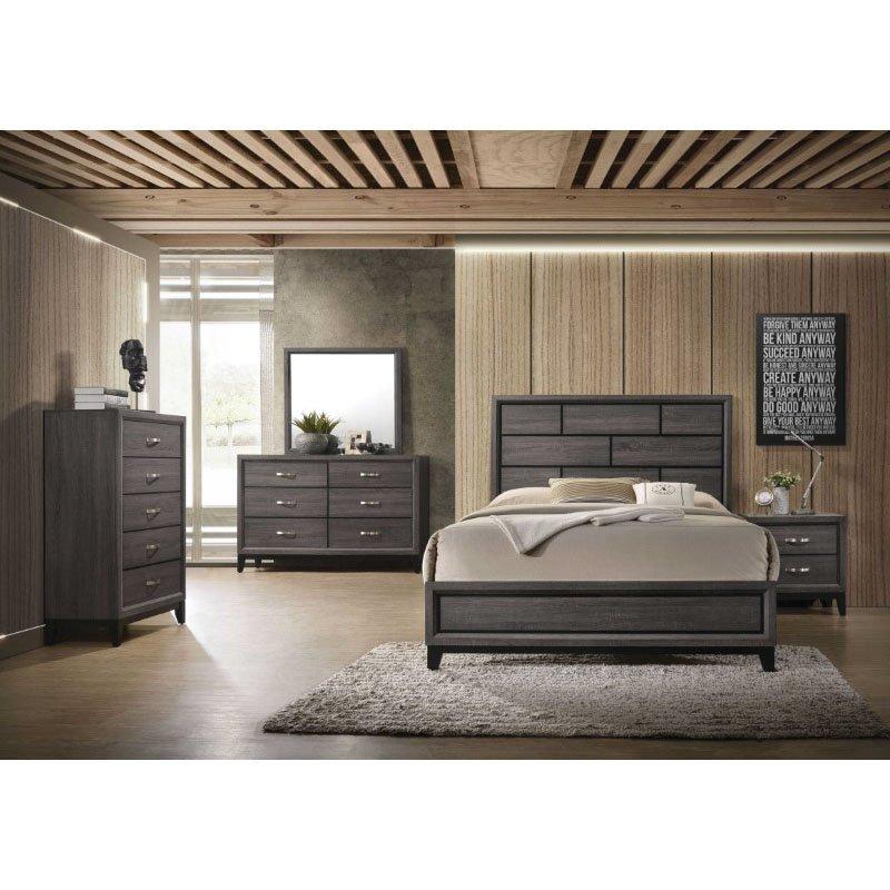 HomeRoots Furniture Eastern King Bed in Weathered Gray - Paper Veneer, MDF, Plywood, Chipboard (318742)