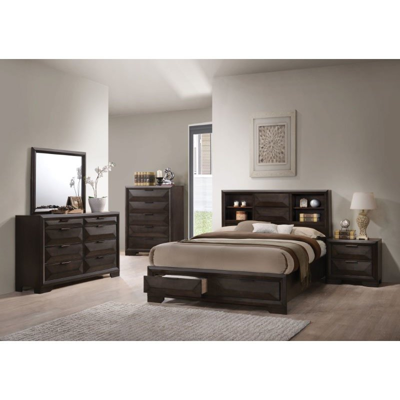 HomeRoots Furniture Eastern King Storage Bed in Espresso (318722)