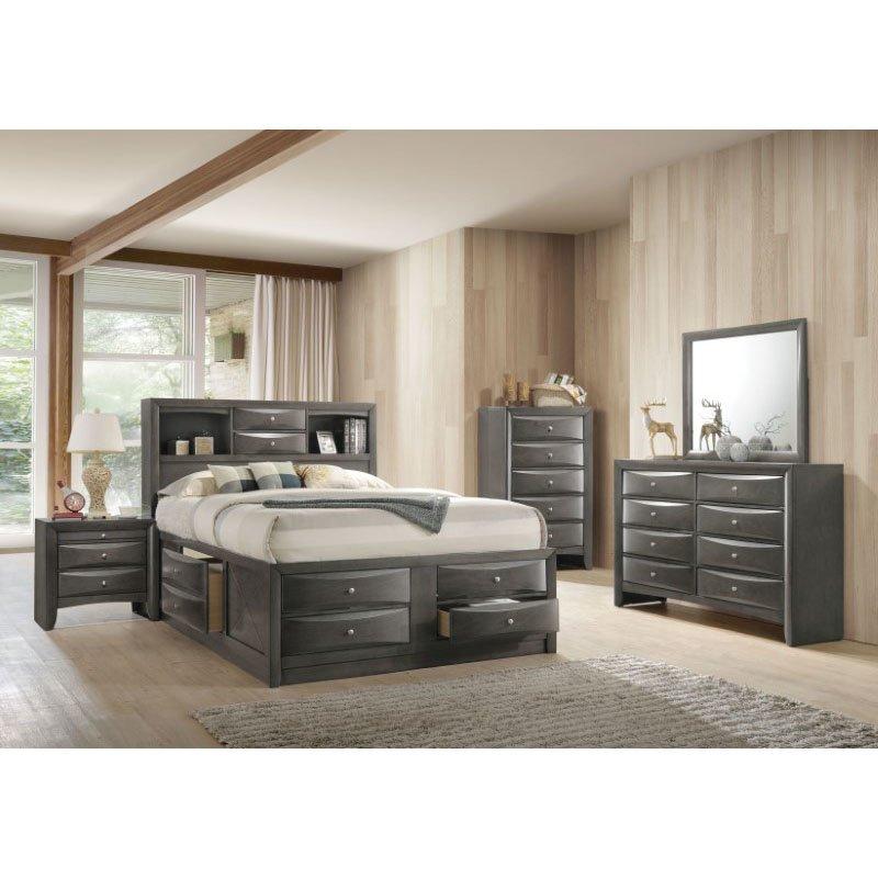 HomeRoots Furniture Eastern King Storage Bed in Gray Oak - Rubber Wood, Okume Veneer, MDF (318715)