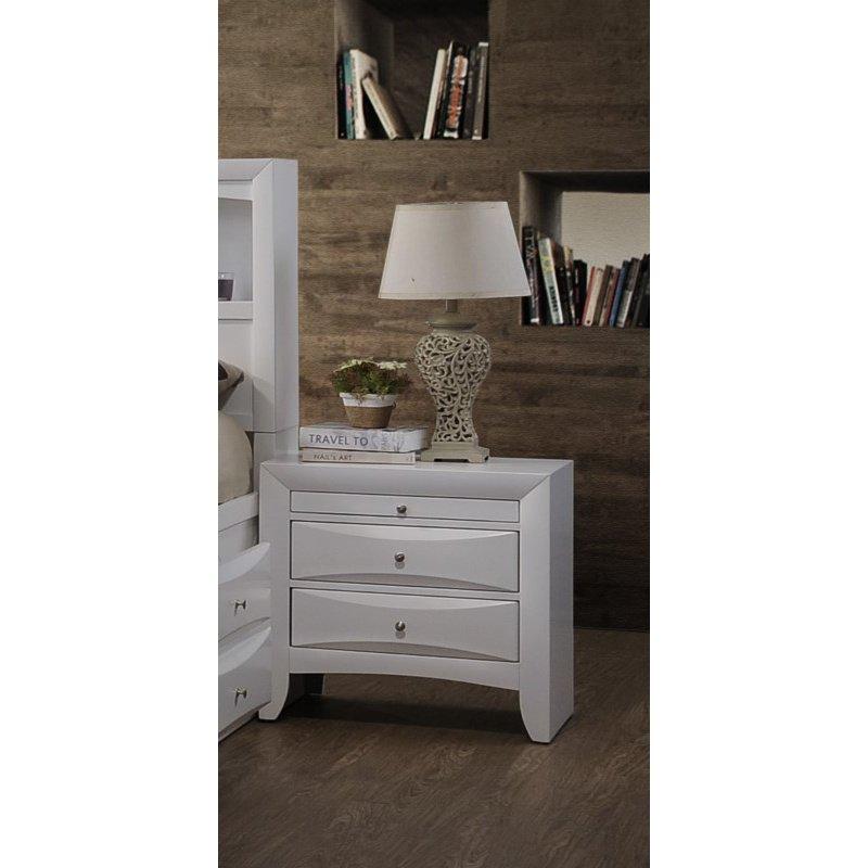 HomeRoots Furniture Elegant Nightstand - Rubber Wood, Okume Veneer White (285871)