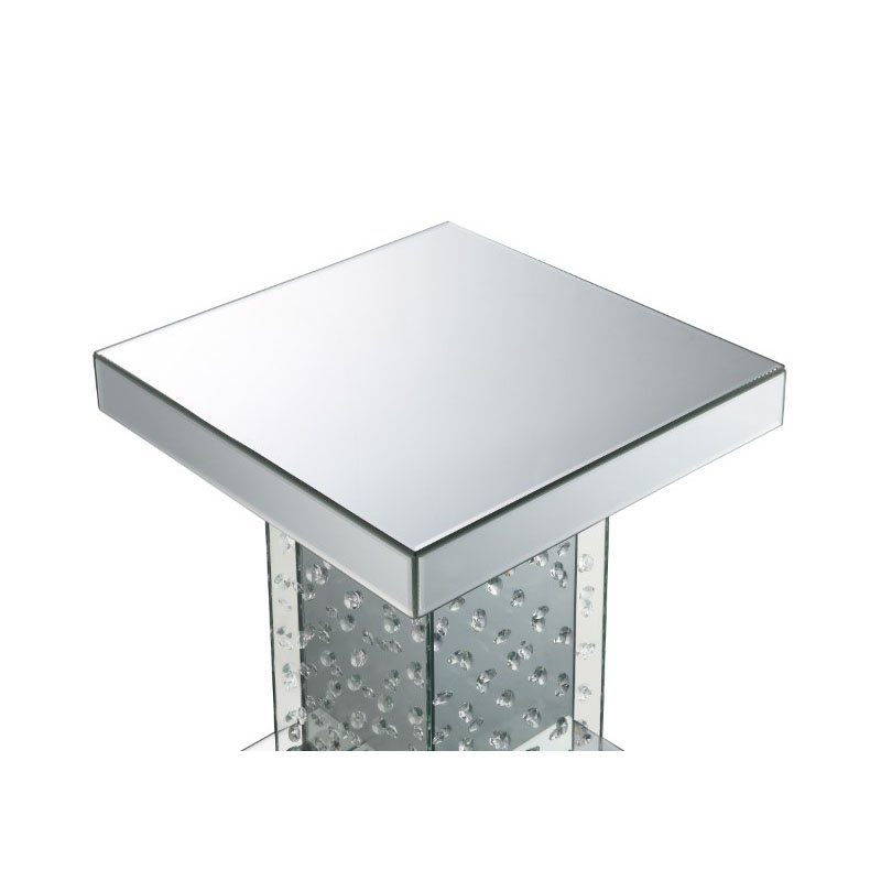 HomeRoots Furniture End Table in Mirrored and Faux Crystals - Mirror, MDF, Glass (318962)