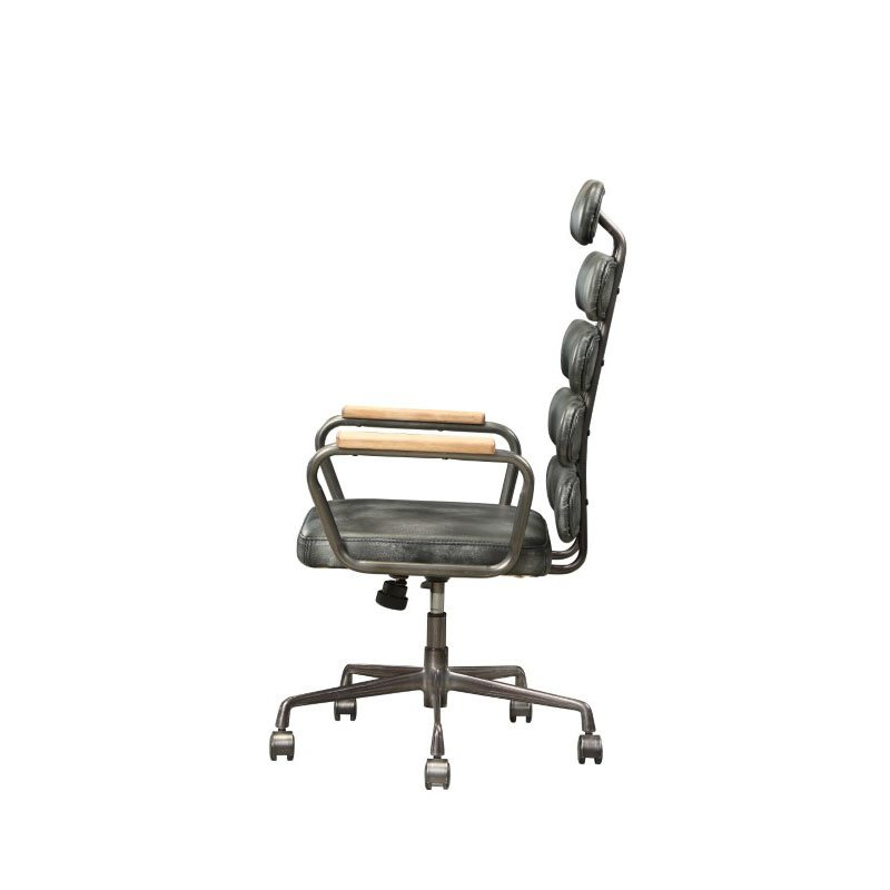 HomeRoots Furniture Executive Office Chair in Vintage Black Top Grain Leather, Metal, Plywood, Foam (319066)