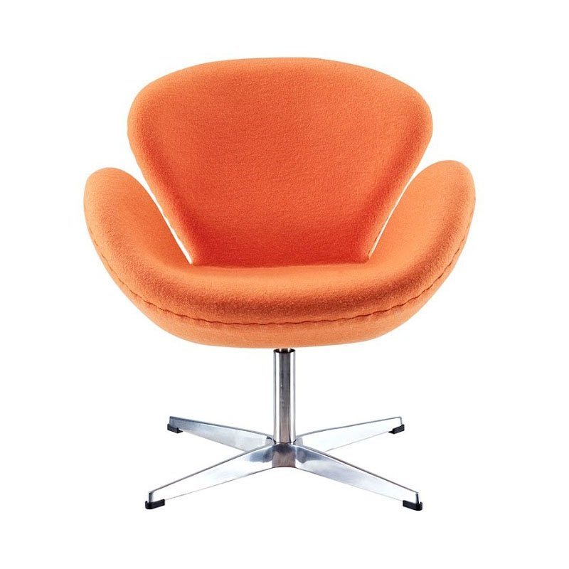 HomeRoots Furniture Fiberglass Chair in Orange Fabric (319862)