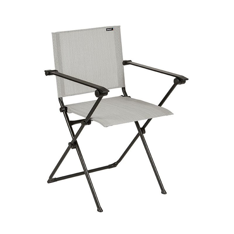 HomeRoots Furniture Folding Armchair - Black Steel Frame - Galet Duo Fabric (320637)