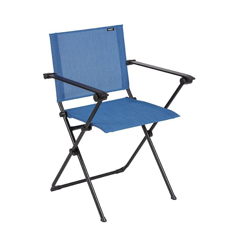 HomeRoots Furniture Folding Armchair - Black Steel Frame - Outremer Duo Fabric (320639)
