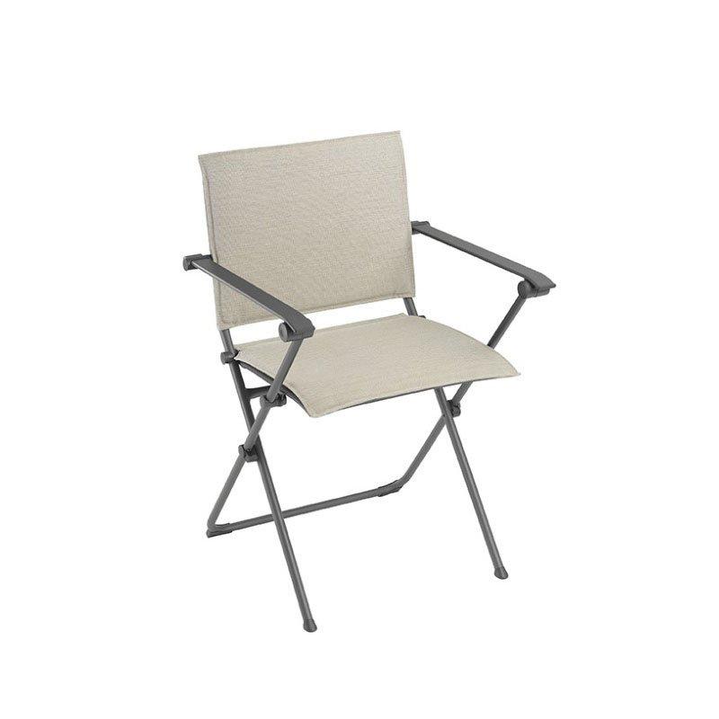 HomeRoots Furniture Folding Armchair - Titane Steel Frame - Latte Hedona Fabric (320575)