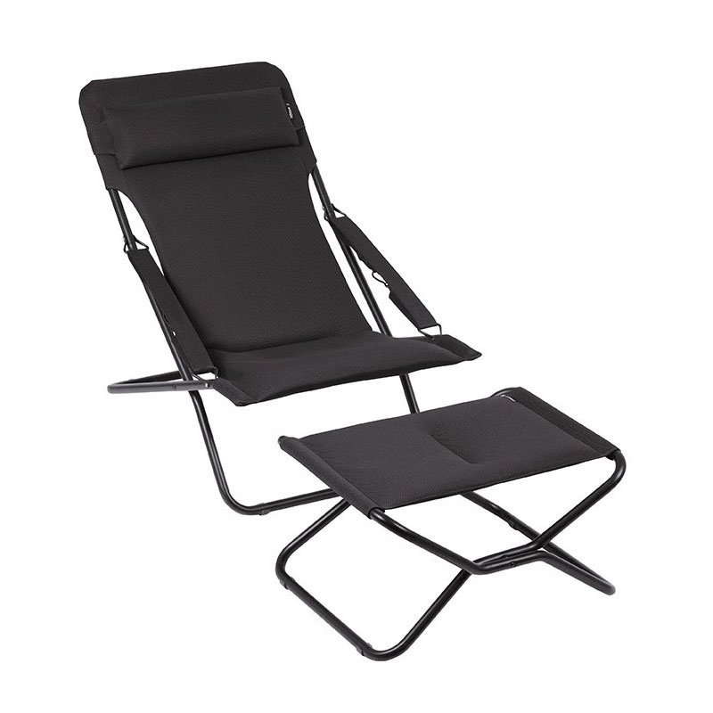 HomeRoots Furniture Folding Sling Chair - Black Steel Frame - Acier Fabric (320622)