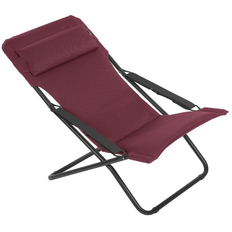 HomeRoots Furniture Folding Sling Chair - Black Steel Frame - Bordeaux Fabric (320621)