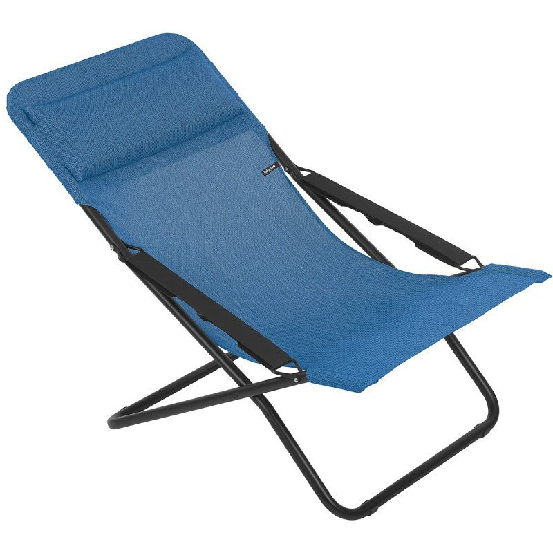 HomeRoots Furniture Folding Sling Chair - Black Steel Frame - Outremer Fabric (320620)