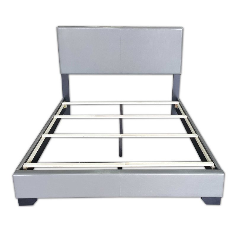 HomeRoots Furniture Full Bed in Gray - PU, Rubber Wood (20%) (286155)