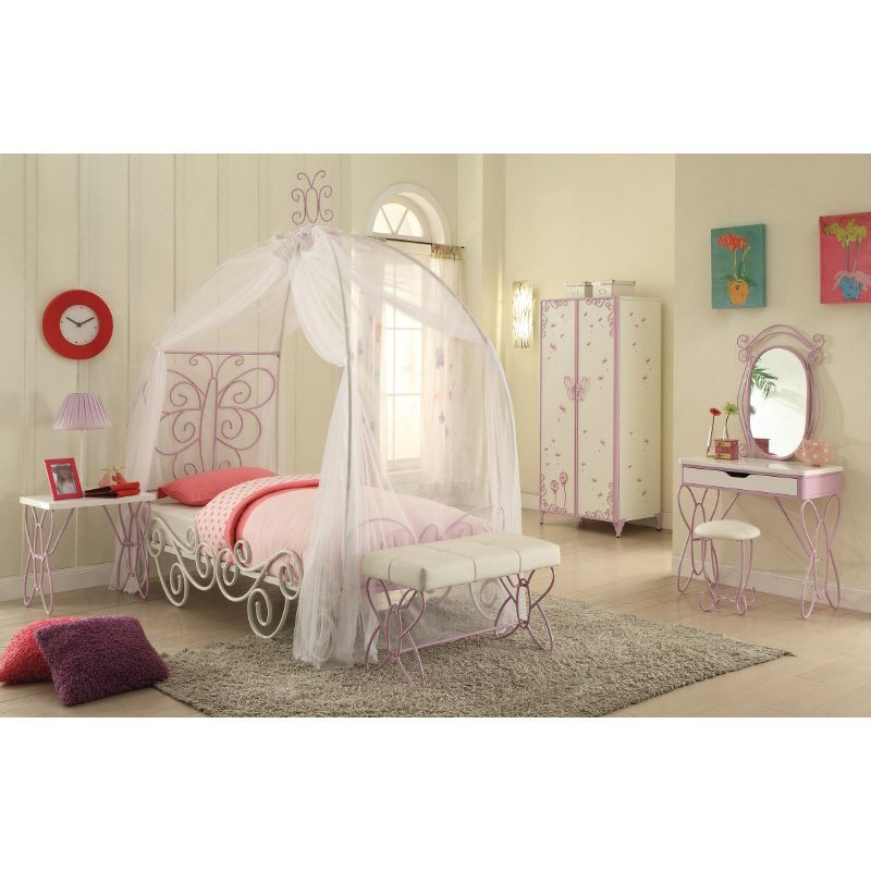 HomeRoots Furniture Full Bed with Canopy, White & Light Purple - Metal Tube (285577)