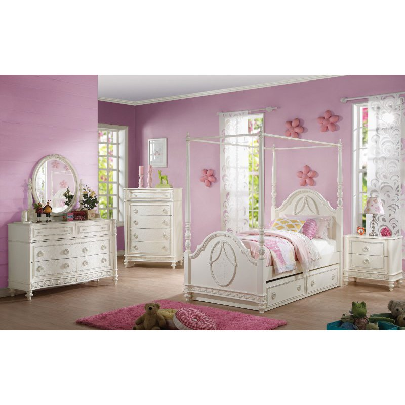 HomeRoots Furniture Full Bed (Wooden Poster), Ivory - Pine Wood (285910)