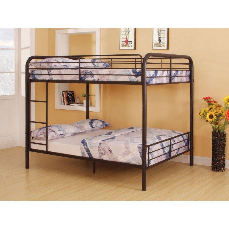 HomeRoots Furniture Full/Full Bunk Bed, Dark Brown - Metal Tube Dark Brown (285313)