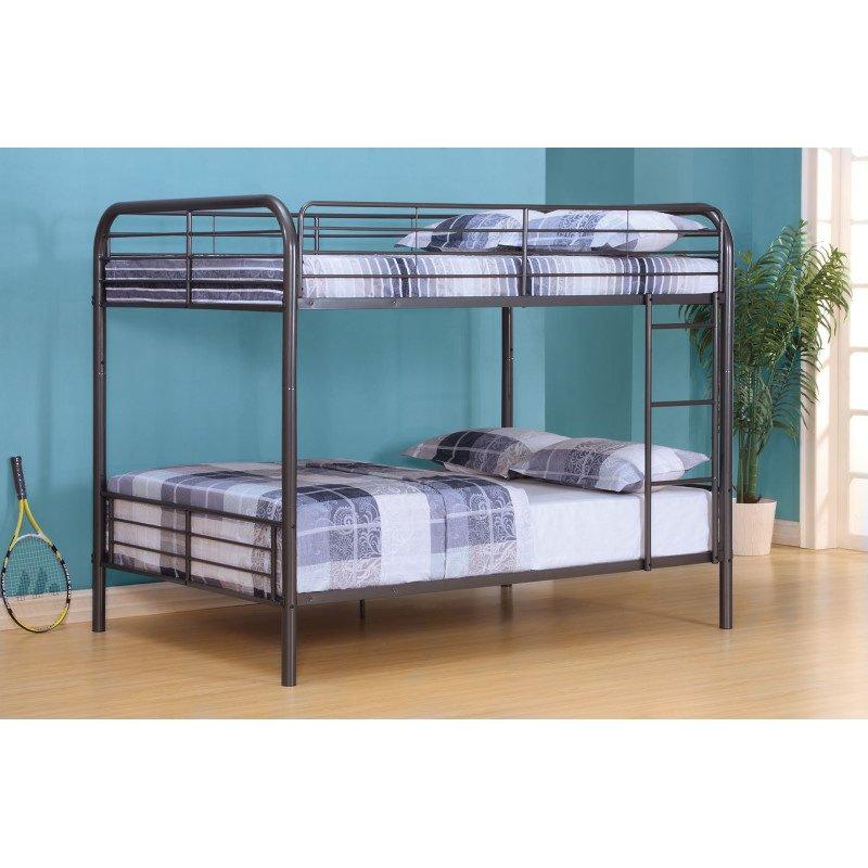HomeRoots Furniture Full/Full Bunk Bed, Gunmetal - Metal Tube Gunmetal (285314)