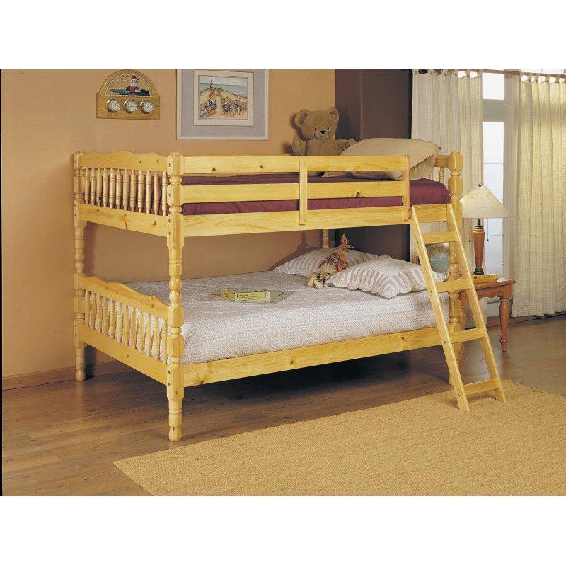 HomeRoots Furniture Full/Full Bunk Bed, Natural - Pine Wood Natural (286528)
