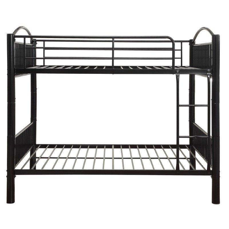 HomeRoots Furniture Full Over Full Bunkbed in Black - Metal Black (286165)