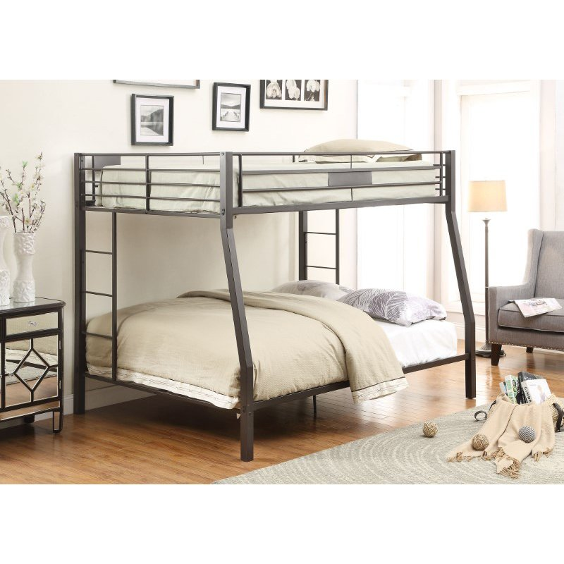 HomeRoots Furniture Full XL/Queen Bunk Bed, Black Sand - Metal Tube Black Sand (285321)
