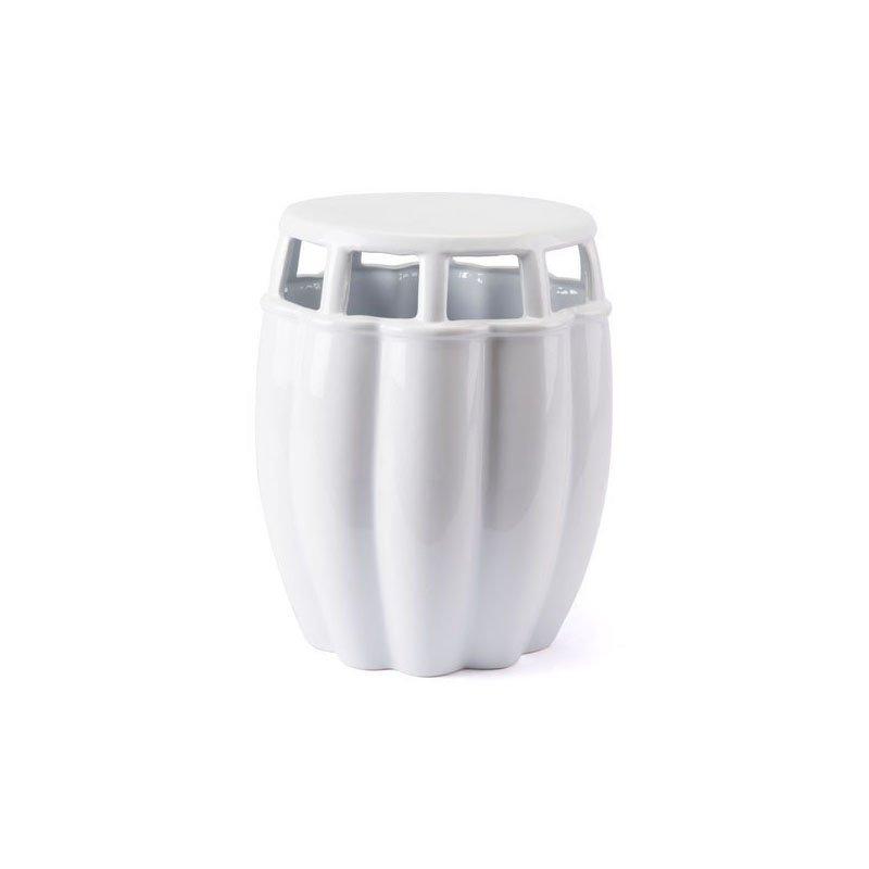 HomeRoots Furniture Garden Seat White Ceramic (295115)