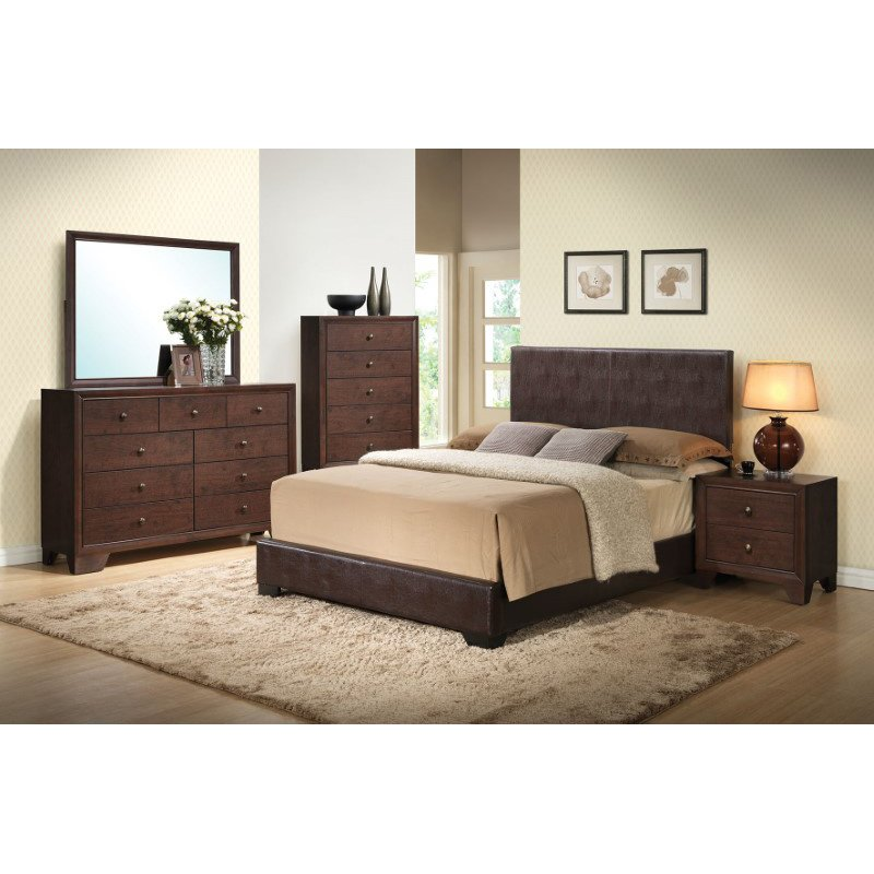 HomeRoots Furniture Ireland III Eastern King Bed (Panel), Brown PU (285219)