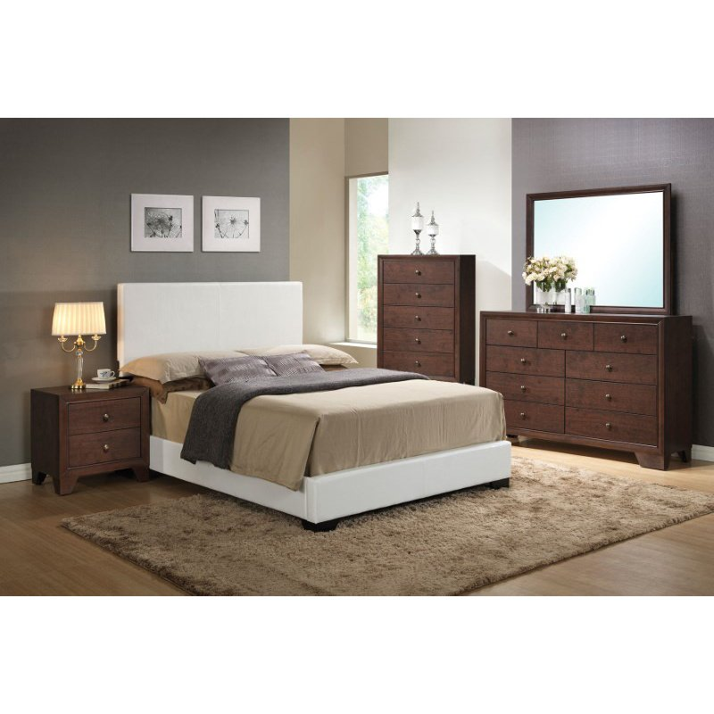 HomeRoots Furniture Ireland III Eastern King Bed (Panel), White PU (285222)