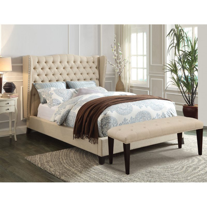 HomeRoots Furniture King Bed, Beige Linen & Espresso - Linen, CA Foam (TB117) (285227)