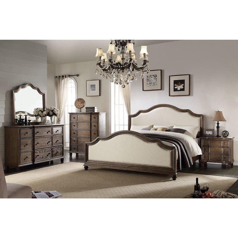 HomeRoots Furniture King Bed, Beige Linen & Weathered Oak - Linen Fabric, Wood (285903)