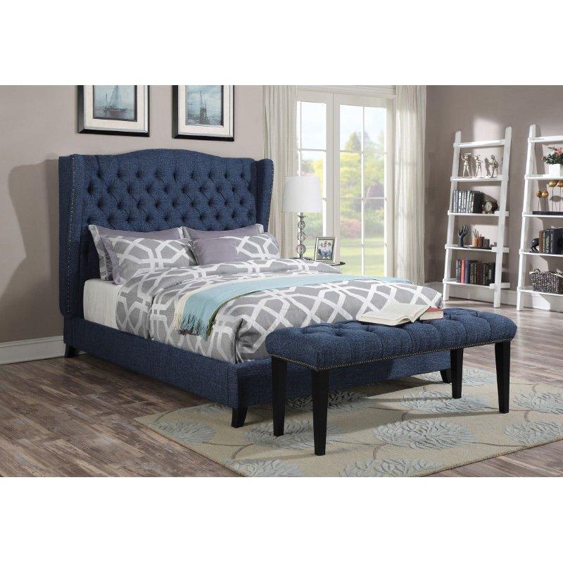 HomeRoots Furniture King Bed, Blue Linen - CA Foam (TB117) (285230)