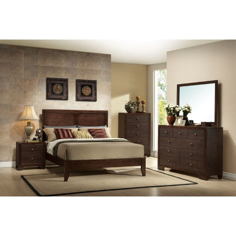 HomeRoots Furniture King Bed, Espresso - Rubber Wood & Tropical Wood (285862)
