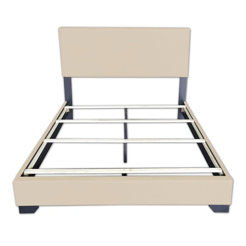 HomeRoots Furniture King Bed in Beige PU, Rubber Wood (20%) (286150)