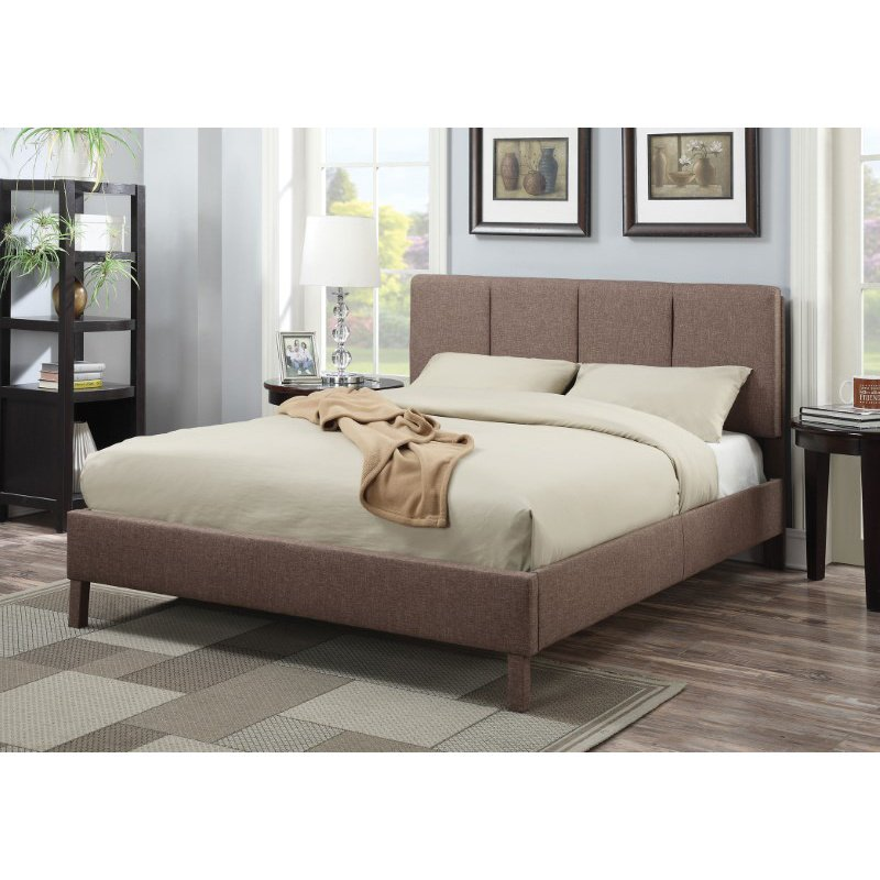 HomeRoots Furniture King Bed, Light Brown Linen - Linen Fabric, CA Foam (285251)