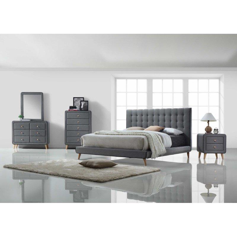 HomeRoots Furniture King Bed, Light Gray Fabric - Fabric, Wood, LVL, Foam (285878)