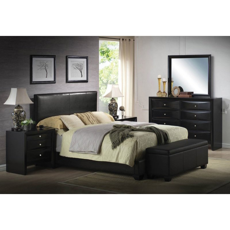 HomeRoots Furniture King Bed (Panel), Black PU, Rubber Wood (20%) (285215)