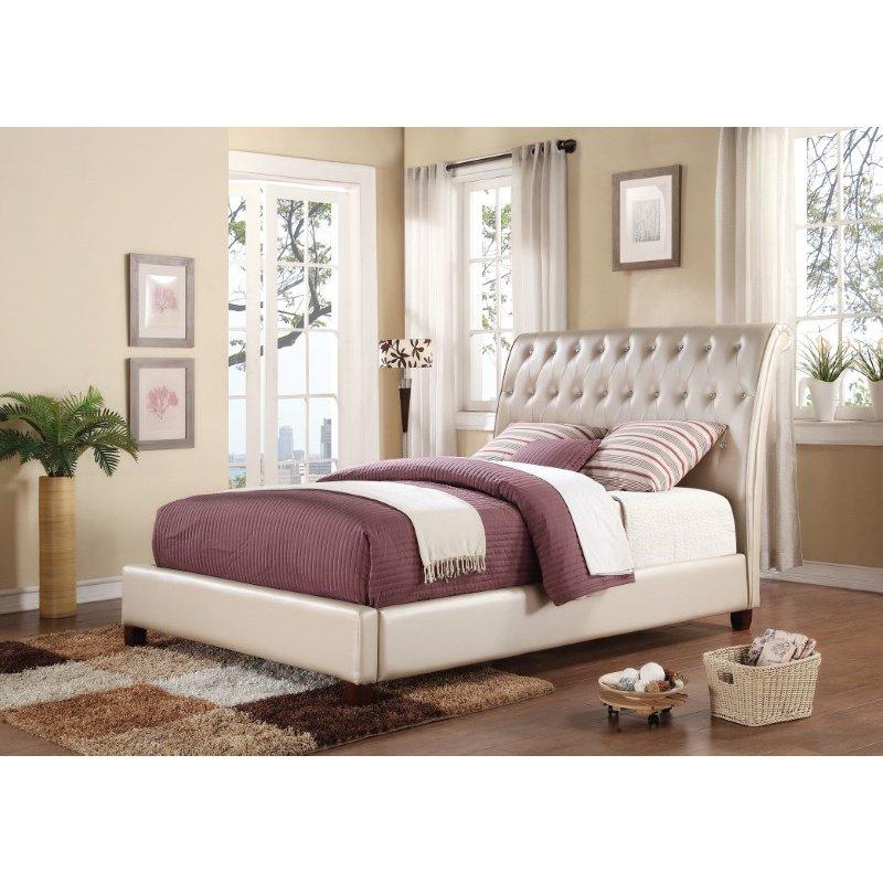 HomeRoots Furniture King Bed, Pearl PU - PU, Pine & Plywood (285547)