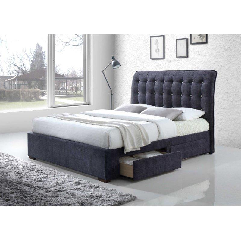 HomeRoots Furniture King Bed with Storage, Dark Gray Fabric - Fabric, Wood, LVL, Foam (285890)