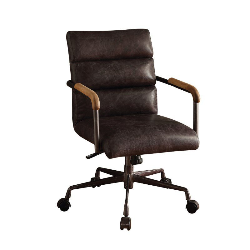 HomeRoots Furniture Leather Office Chair in Antique Ebony - Top Grain Leather, Foam, Antique Ebony (286615)