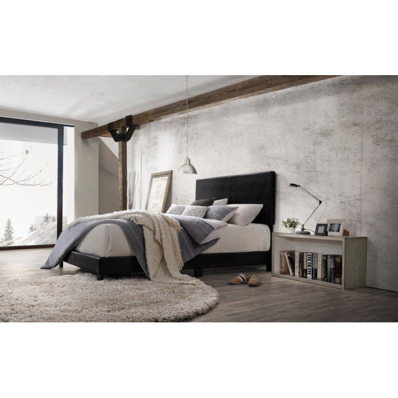 HomeRoots Furniture Lien Queen Bed, Black PU (285896)