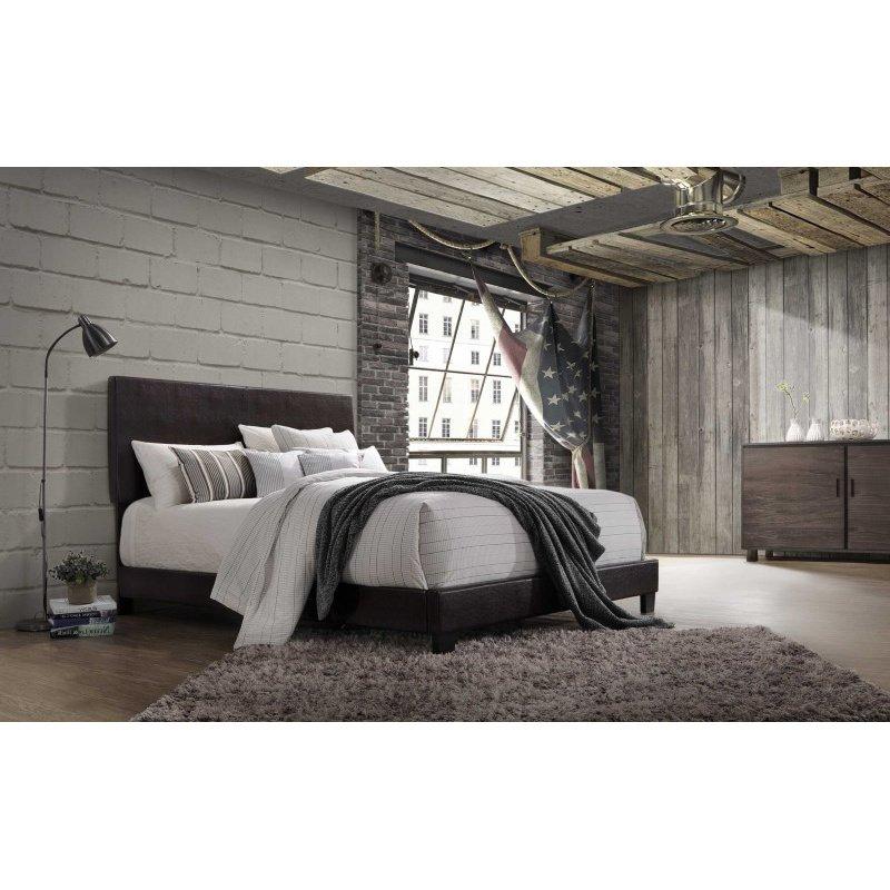 HomeRoots Furniture Lien Queen Bed, Espresso PU (285898)