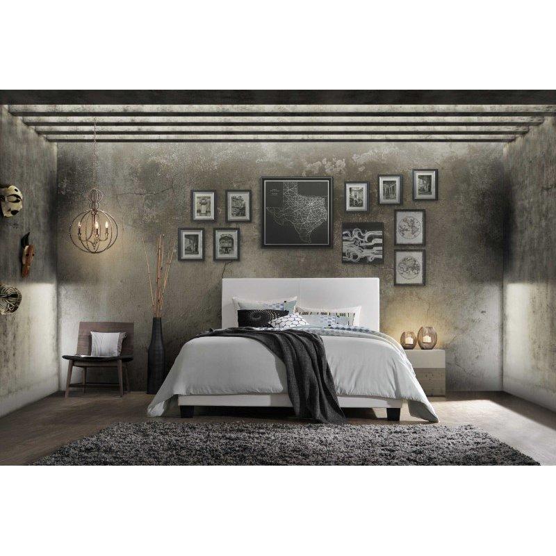 HomeRoots Furniture Lien Queen Bed, White PU (285894)