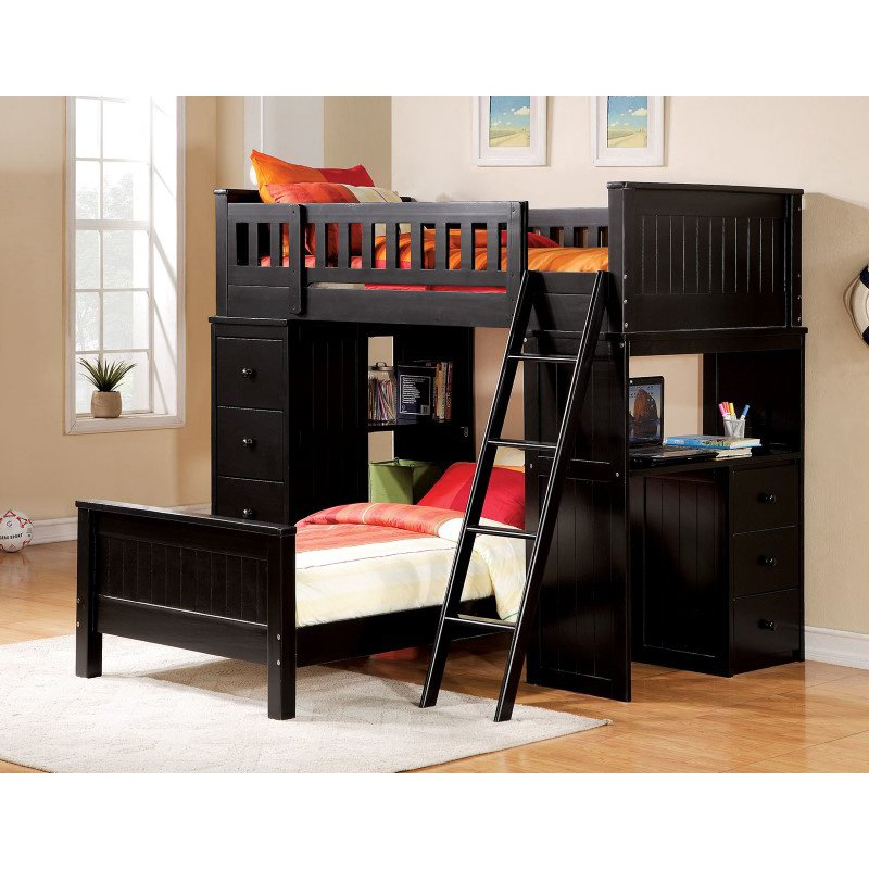 HomeRoots Furniture Loft Bed, Black - Wood (Solid), MDF, LVL, P Black (286138)