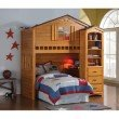 HomeRoots Furniture Loft Bed, Rustic Oak - Pine Wood, MDF, Plywood Rustic Oak (286136)