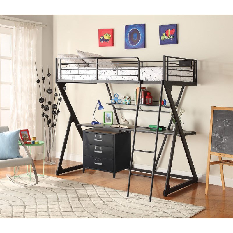 HomeRoots Furniture Loft Bed, Sandy Black - Steel Tube, MDF, PVC Sandy Black (285590)